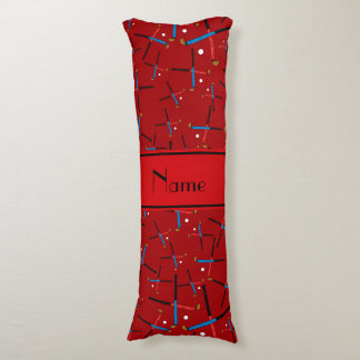 Personalized name red field hockey body pillow