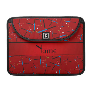 Personalized name red field hockey pattern MacBook pro sleeves