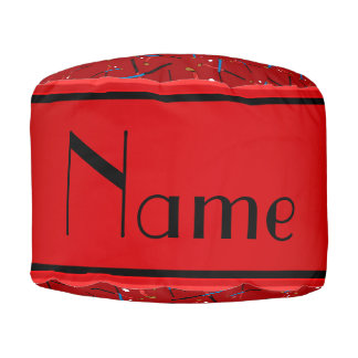 Personalized name red field hockey round pouf