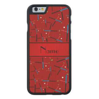 Personalized name red field hockey carved® maple iPhone 6 case