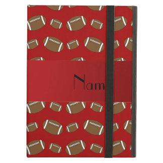 Personalized name red footballs iPad folio cases