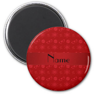 Personalized name red geek pattern 6 cm round magnet