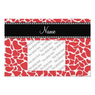 Personalized name red giraffe pattern art photo