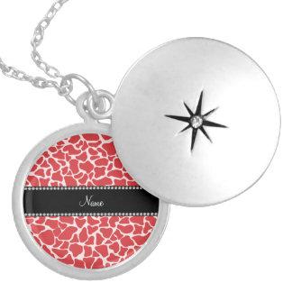 Personalized name red giraffe pattern pendant