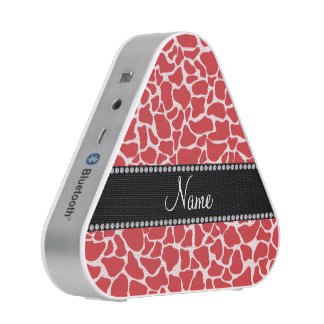 Personalized name red giraffe pattern bluetooth speaker