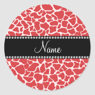 Personalized name red giraffe pattern stickers
