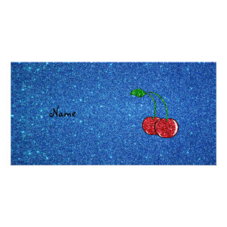 Personalized name red glitter cherry blue glitter photo cards
