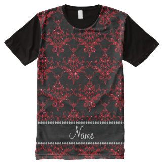 Personalized name red glitter damask All-Over print T-Shirt