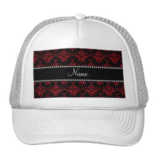 Personalized name red glitter damask trucker hats