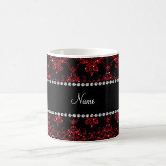 Personalized name red glitter damask coffee mug