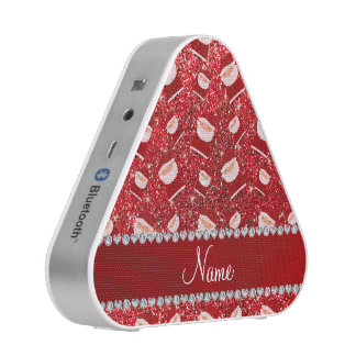 Personalized name red glitter santas