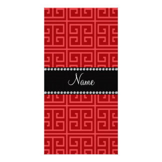 Personalized name red greek key pattern customised photo card