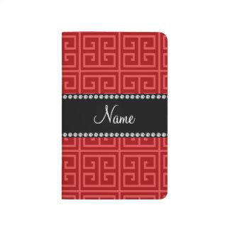Personalized name red greek key pattern journal
