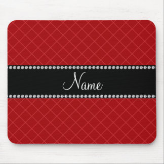 Personalized name red grid pattern mouse pad