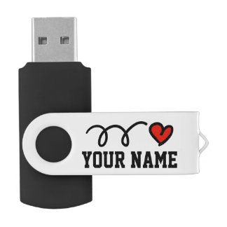 Personalized name red heart USB pen flash drive