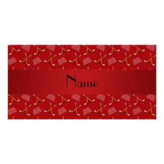 Personalized name red hockey pattern customised photo card