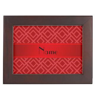 Personalized name red interlocking triangles keepsake box