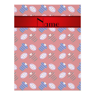 Personalized name red jerseys rugby balls custom flyer