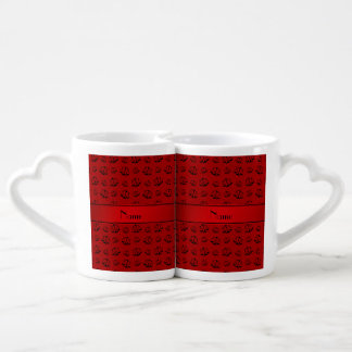 Personalized name red justice scales couples mug