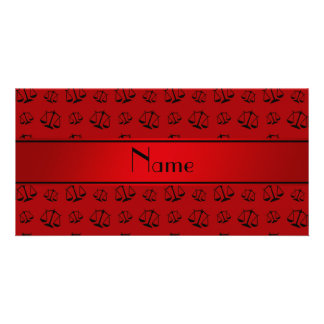 Personalized name red justice scales personalised photo card