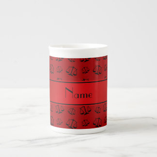 Personalized name red justice scales bone china mug