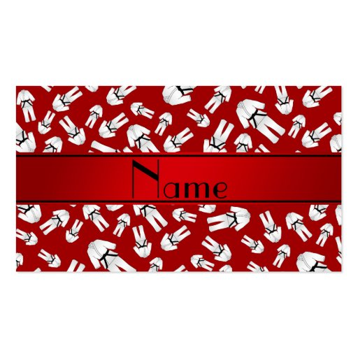 Personalized name red karate pattern business card