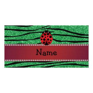 Personalized name red ladybug green zebra stripes photo cards
