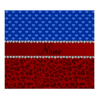 Personalized name red leopard blue hearts poster