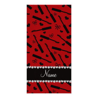 Personalized name red mascara hearts bows personalized photo card