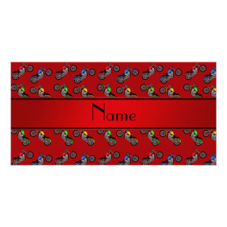 Personalized name red motorcycles custom photo card