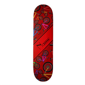 Personalized name red mountain bikes skate deck