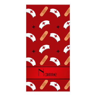 Personalized name red nurse pattern photo card