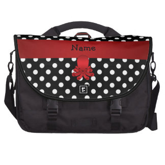 Personalized name red octopus black polka dots laptop bags