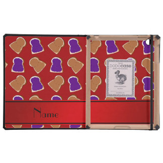 Personalized name red peanut butter jelly iPad folio cases