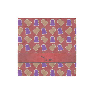 Personalized name red peanut butter jelly stone magnet