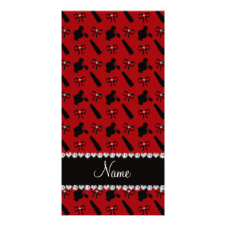 Personalized name red perfume lipstick bows photo greeting card