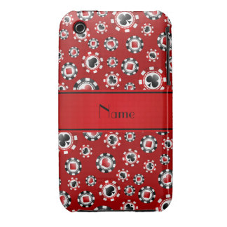 Personalized name red poker chips iPhone 3 cover
