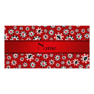 Personalized name red poker chips picture card