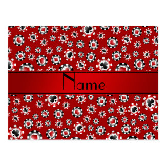 Personalized name red poker chips postcards