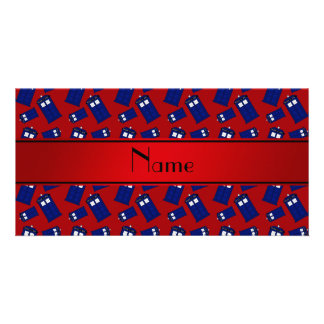 Personalized name red police box red stripe photo card