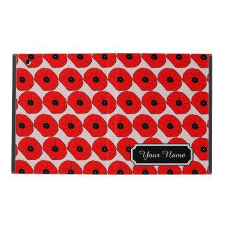 Personalized Name Red Poppy Flowers iPad 2/3/4 Cas iPad Folio Case