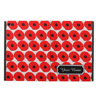 Personalized Name Red Poppy Flowers iPad Air Case