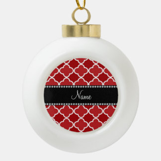 Personalized name Red quatrefoil pattern Ornaments