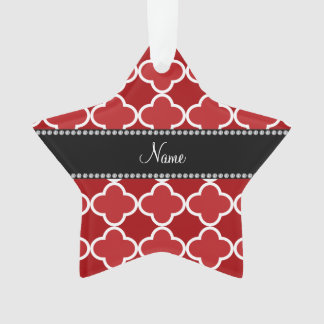 Personalized name Red quatrefoil pattern