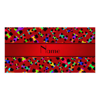 Personalized name red race car pattern photo cards