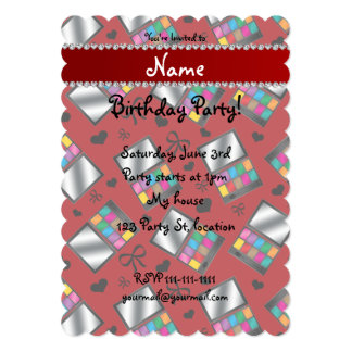 Personalized name red rainbow eyeshadow 13 cm x 18 cm invitation card