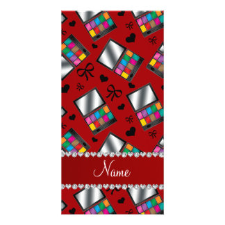 Personalized name red rainbow eyeshadow photo cards