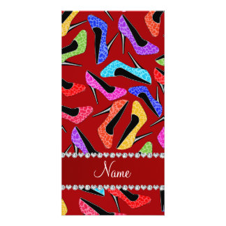 Personalized name red rainbow leopard high heels photo card