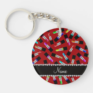 Personalized name red rainbow lipstick Double-Sided round acrylic keychain