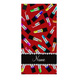 Personalized name red rainbow lipstick custom photo card